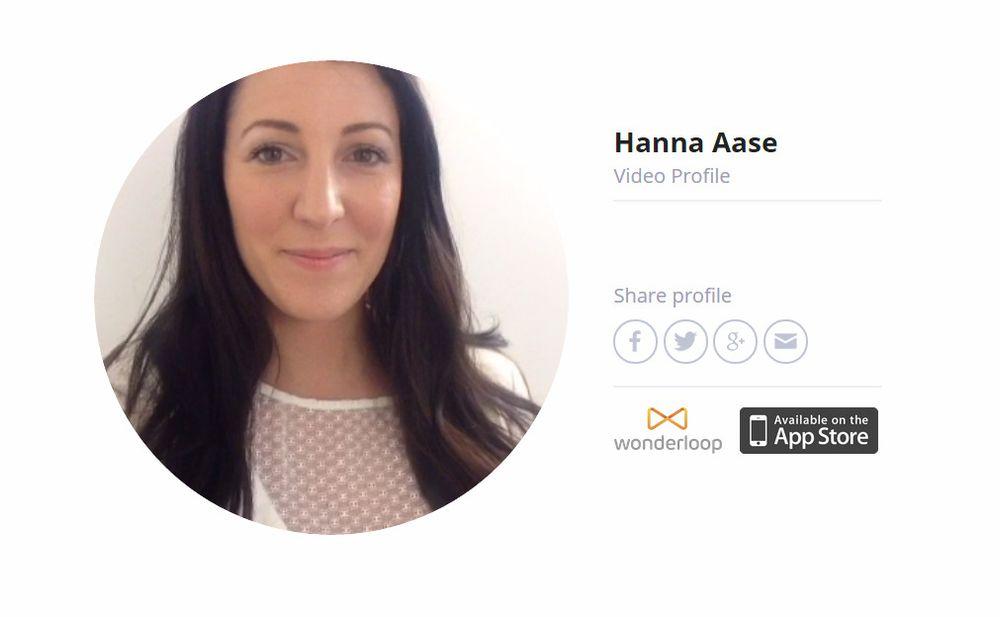 Videoprofiler til Wonderloop er nå tilgjengelige på weben. Bildet er av profilen til gründeren Hanna Aase.