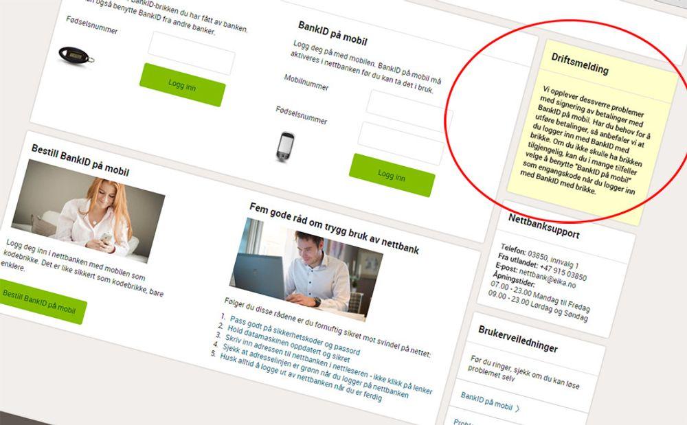 «Vi opplever dessverre problemer med signering av betalinger med BankID på mobil», oppgir nå nettbanker i Eika-alliansen. Skjermdump.