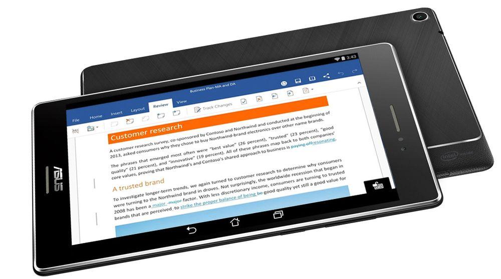 Android-baserte Asus-enheter vil i framtiden bli levert med Microsoft Office forhåndsinstallert.