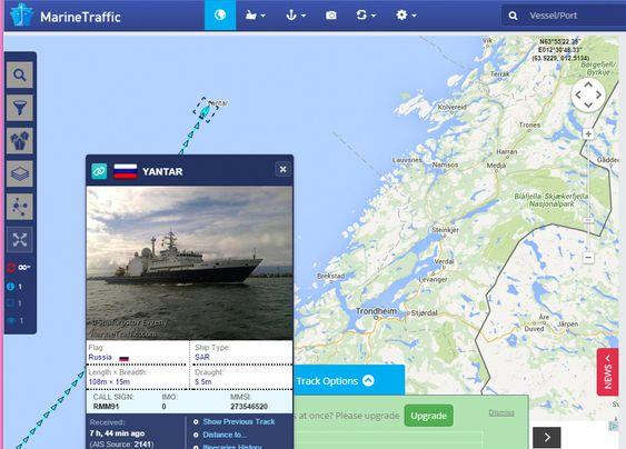 Posisjonen til skipet Yantar den 26. oktober 2015. Skipet tilhører den russiske marinen.