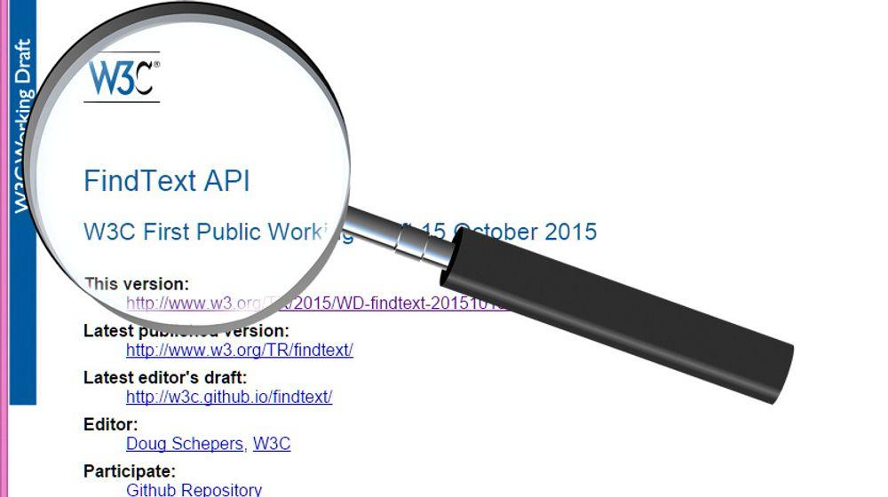 Den foreslåtte FindText API-spesifikasjonen skal åpne for smartere søk på websider og i webapplikasjoner.