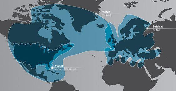 Dekningsområdet til ViaSat-2 kombinert med Eutelsat.