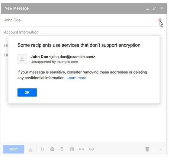 Gmail-varsel om ikke-kryptert e-post.