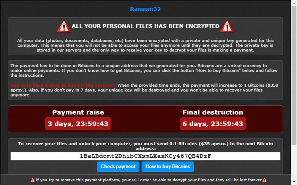 Advarselen som ofrene får etter at Ranson32-skadevaren har kryptert filene deres.