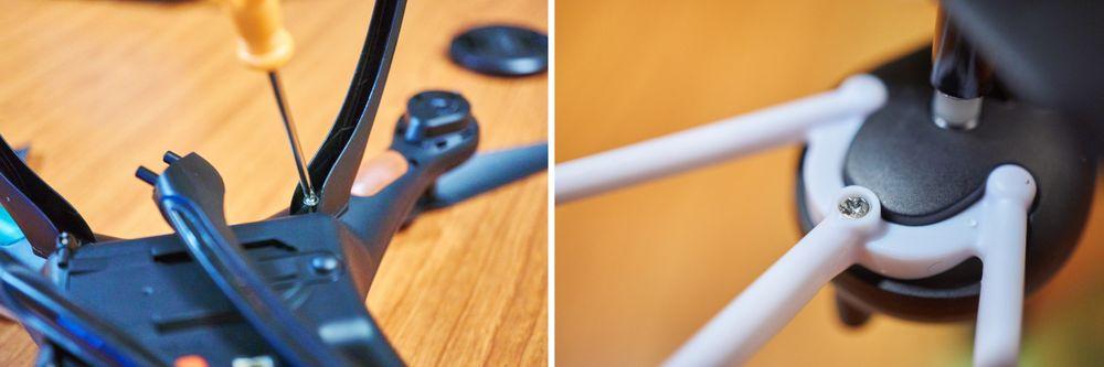 Beskyttelsesringene til Syma X5SW er solid festet med to plugger og én skrue.