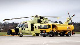 Det første norske AW101-helikopteret (0262) under bakketesting sist vinter.
