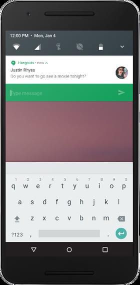 Android N får også mulighet for direktesvar på meldinger i varslingsvinduet.