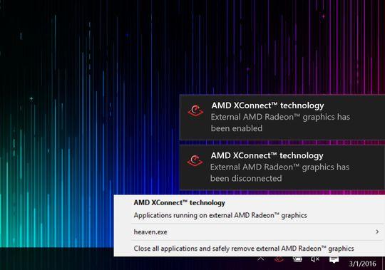 Du kan plugge inn og koble fra den eksterne grafikkboksen med et museklikk, uten å måtte restarte maskinen! En liste over programmer som bruker eGPU-en er også tilgjengelig.