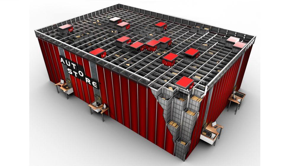 Autostore lagringssystem produsert av Hatteland. Montert hos EET Europarts i Danmark av Element Logic.