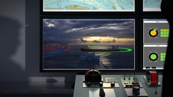 Illustrasjon fra Munin-prosjektet for autonome skip. De overvåkes fra et kontrollsenter i land, der mennesker kan gripe inn og fjernstyre skip om de autonome systemer svikter.