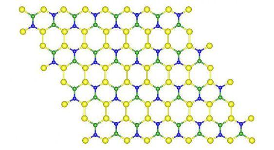 Denne sammensetningen av silisium (gult), bor (grønt) og nitrogen (blått) gir et materiale som kan være minst like sterkt og fleksibelt som grafén, bare billigere og med flere bruksområder.