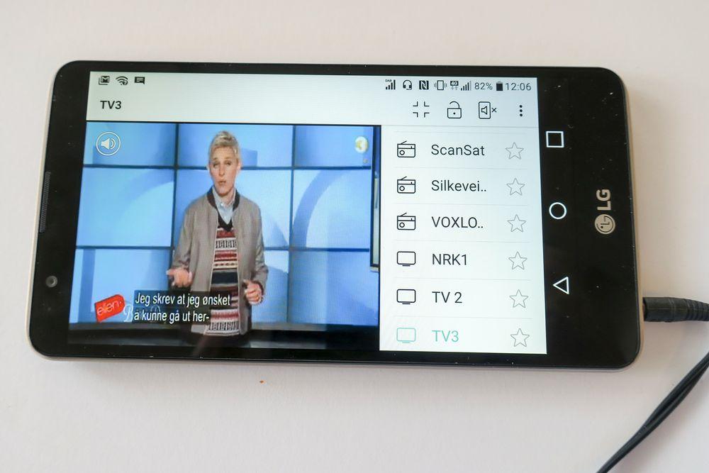 MiniTV: Det viktige med nye LG Stylus 2 er radiodelen, men den kan også dekode  de direktesendte MiniTV-kanalene, selv om det er bare tre stykker og bare kan mottas i Oslo-området.