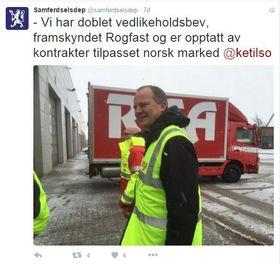 Forrige uke twitret Samferdselsdepartementet at Ketil Solvik-Olsen ønsket å tilpasse anleggskontrakter til det norske markedet.