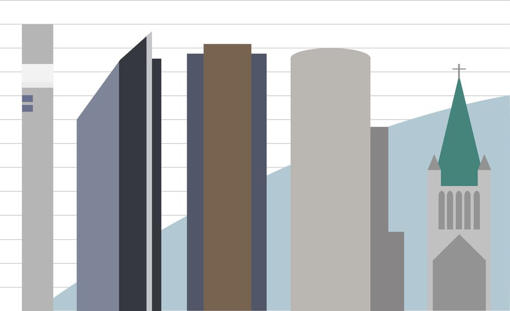 Norges fem høyeste bygg illustrert i faktiske størrelsesforhold. Hver linje i oversikten representerer 10 meter i virkeligheten. Illustrasjon: Erlend Tangeraas Lygre.