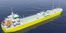Frakteskip kan bygges om til LNG-bunkringsfartøy, drevet av LNG og med batteri for optimal driftsprofil.