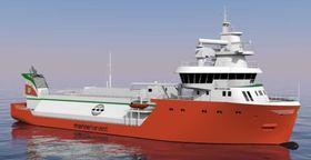 Hybrid havbruksfartøy - med LNG-motor og batteridrift.