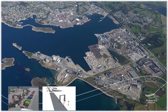 Risavika havn skal bli helgrønn med landstrøm, elektriske kraner og transportløsning. LNG-bunkring er allerede lagt opp for Fjordlines' to passasjerferger Stavangerfjord og Bergensfjord.