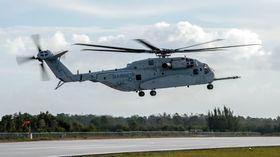 Dette er det andre CH-53K-testhelikopteret som fløy første gang 22. januar i år.