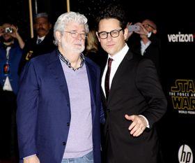 George Lucas og J. J. Abrams på premieren for den siste Star Wars-filmen.