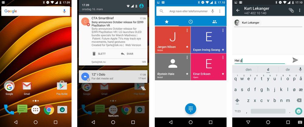 Det er så godt som rene Android-menyer på Moto X Force. De få tingene som ikke kommer rett fra Google er noen innstillinger, og appene Moto og Connect. Ellers er dette som å bruke en Nexus-modell.