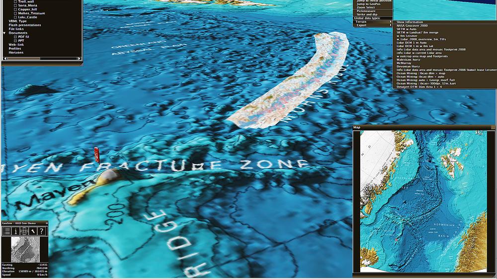 Den midtatlantiske ryggen fra Jan Mayen og nordover mot Svalbard. Identifiserte strukturelementer lagt ned på havbunnstopografien