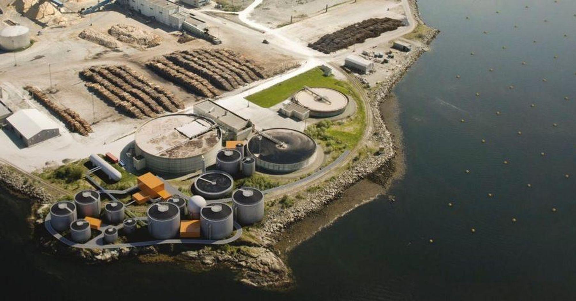 Slik blir det kommende biokraftanlegget som skal ligge vegg-i-vegg med Norske Skog Skogn på Fiborgtangen i Trøndelag.