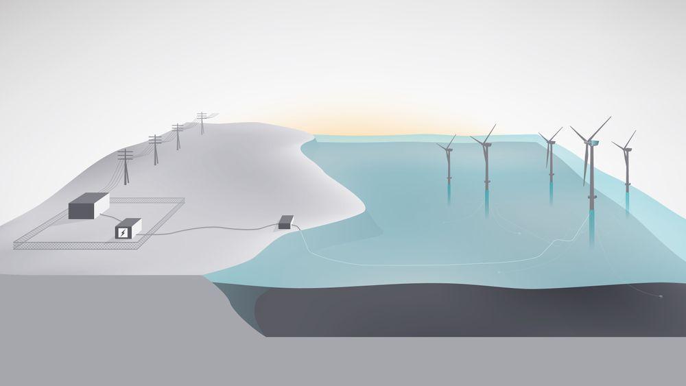 El fra de fem flytende vindmøllene i Hywind-parken utenfor Skotland skal lagres i en container på land med et litiumione-basert batterisystem.