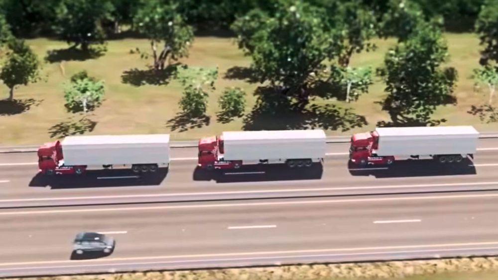 Lastebiler fra hele Europa kjører i «platoon», hvor førerbilen bestemmer hvordan de bak skal oppføre seg.