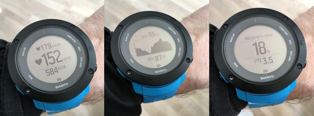 Noen av de mange infoskjermene. Skjermbildet i midten viser tilbakelagt høydeprofil etter en løpetur, mens det siste bildet viser restitusjonstid og treningseffekt.
