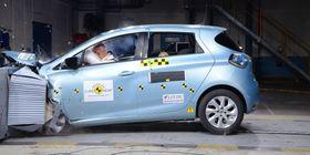 Renault Zoe frontkollideres av Euro NCAP.