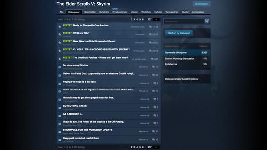 Det var dårlig stemning då Steam prøvde å lempe inn betalte modifikasjonar.