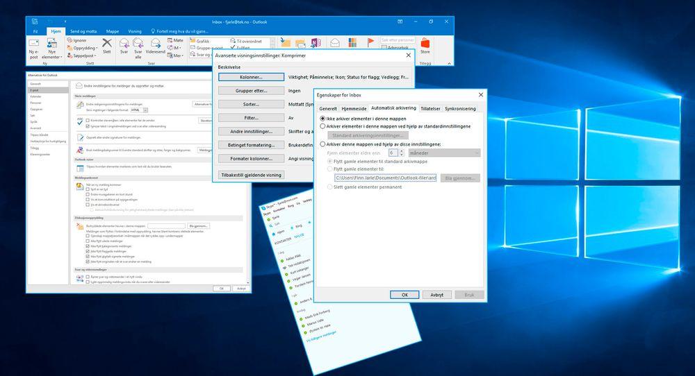 Noen av de mange, mange innstillingsmulighetene i Outlook. Og Skype, som er et eget kapittel. Forholdsvis enkle tjenester sammenliknet med et helt operativsystem. Likevel er det sistnevnte Microsoft gjør best.