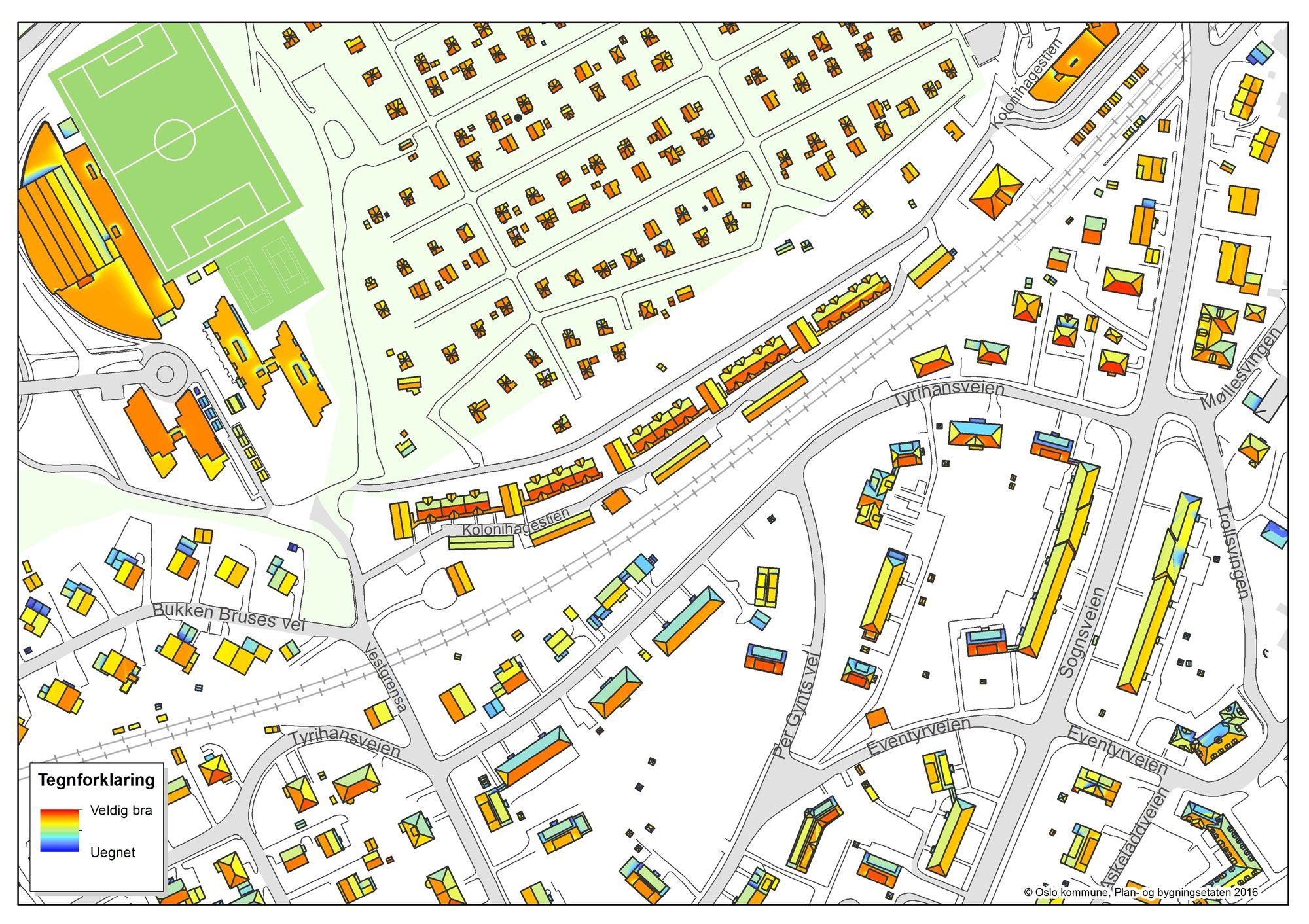 Detaljert: Oslo kommune jobber med å lage et pålitelig solkart over alle gateadresser i Oslo, som viser hvor mye solenergi hvert enkelt tak potensielt kan produsere.