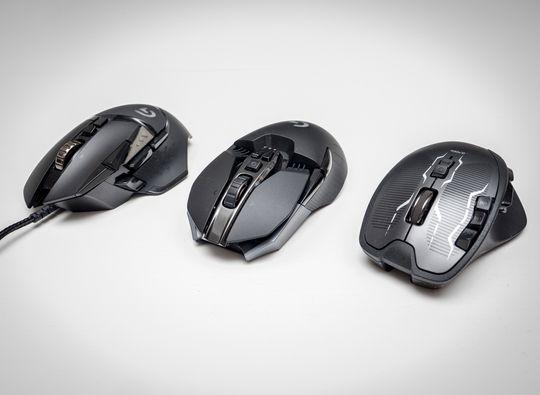Fra venstre: Logitech G502, G900 og G700s.