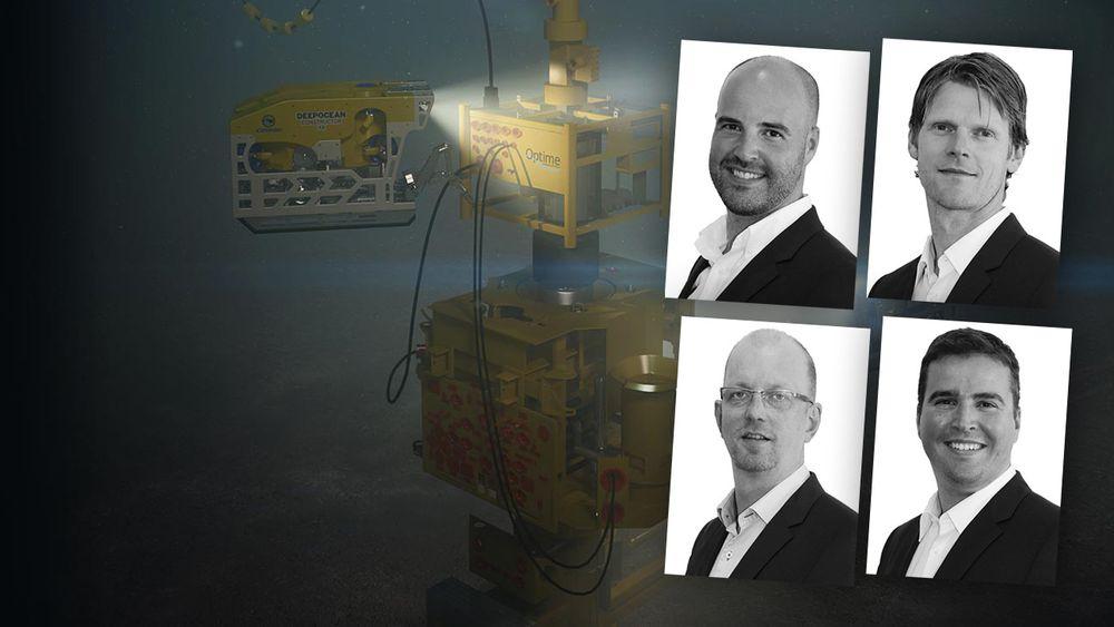 Daglig leder Jan-Fredrik Carlsen, styreleder, Thor Arne Løvland, teknologisjef Trond Løkka og Tor-Øystein Carlsen i Optime Subsea Services har inngått forlik med FMC.