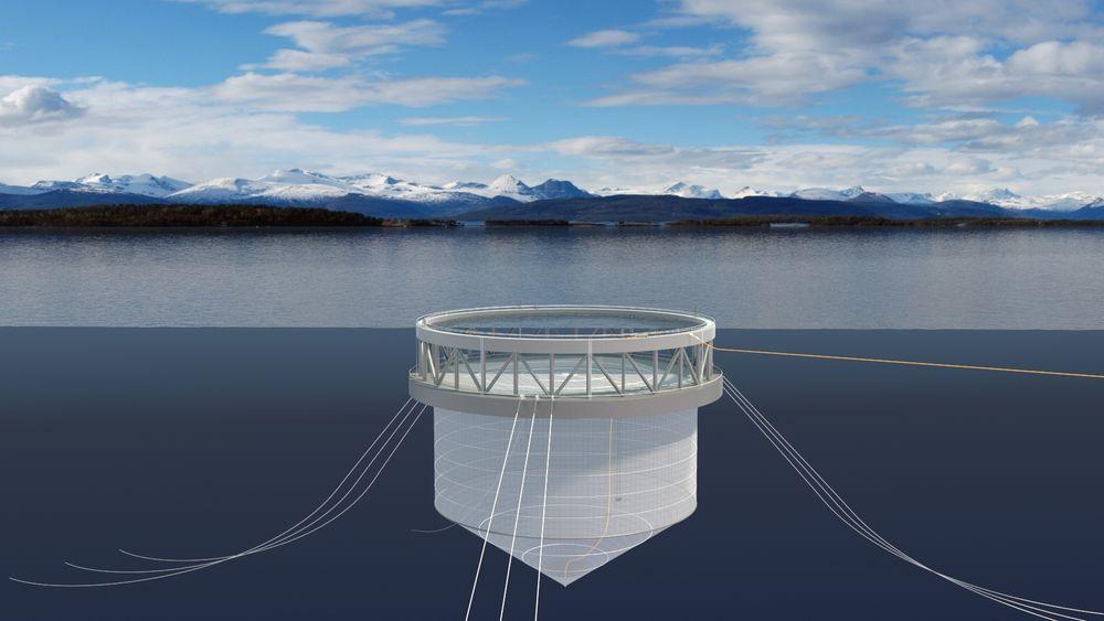 Illustrasjonen viser den halvt nedsenkbare laksemerden Norway Royal Salmon vil teste ut ytterst i Øyfjorden på Senja.