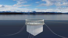 Bare den øverste pontongringen er synlig over vann. Merden kan deballasteres for vedlikehold. Dobbelt nett skal forhindre rømming.