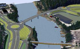 Slik vil den nye brua over Lågen sør for Bølgen ved Teknologiparken, bli seende ut.