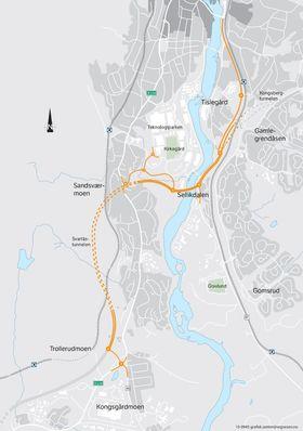 Dette kartet viser delstrekning Myntbrua-Trollerudmoen.