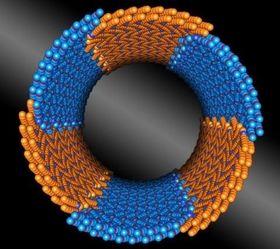 Forskere ved UiO og Berkeley har oppdaget et peptoid som består av to ulike byggesteiner (gult og blått), og som bygger seg selv sammen til nanorør med kontrollerte diametre.