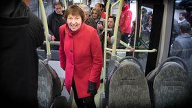 Vil ha fossilfrie busser: Oslos ordfører Marianne Borgen vil ha fossilfire busser så raskt som mulig, og ser gjerne at de blir batteridrevne.