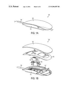 Illustrasjonsbilde fra patentdokumentet. Musen på bildet ligner utvilsomt på Magic Mouse.