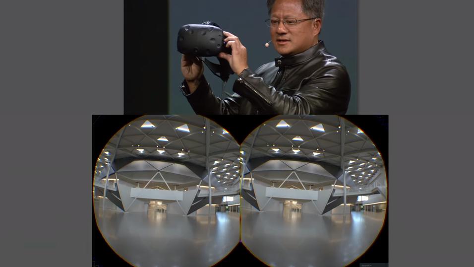 Nvidia-sjefen Jen-Hsun Huang mener VR har langt igjen. Her viser han frem selskapets fotorealistiske Iray VR-teknologi, som krever massivt med kraft.