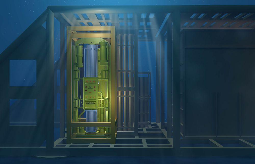 Slik ser det komplette pumpesystemet med Hydromag-teknologien ut. Pumpesystemet kombinerer unike magnetiske koblinger, innebygget hastighetsregulering og standardisert motor, for å nærmest fjerne behovet for infrastruktur topside.
