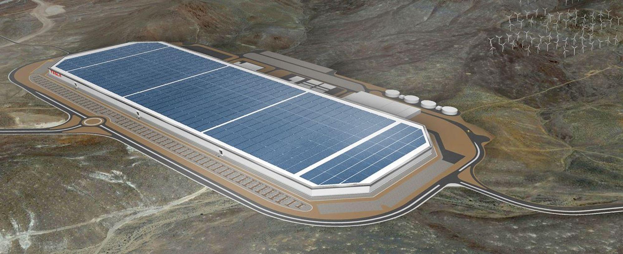 En tidlig konseptskisse av batterifabrikken. Legg merke til vindmøllene i høyre hjørne. Tesla-fabrikken skal etter planen forsynes med 100 prosent fornybar energi.