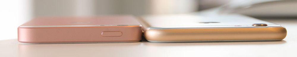 iPhone 6S er litt tynnere enn iPhone SE.