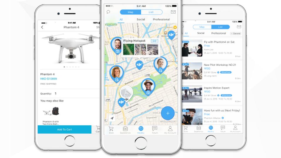 Den nye drone-appen DJI+ Discover.