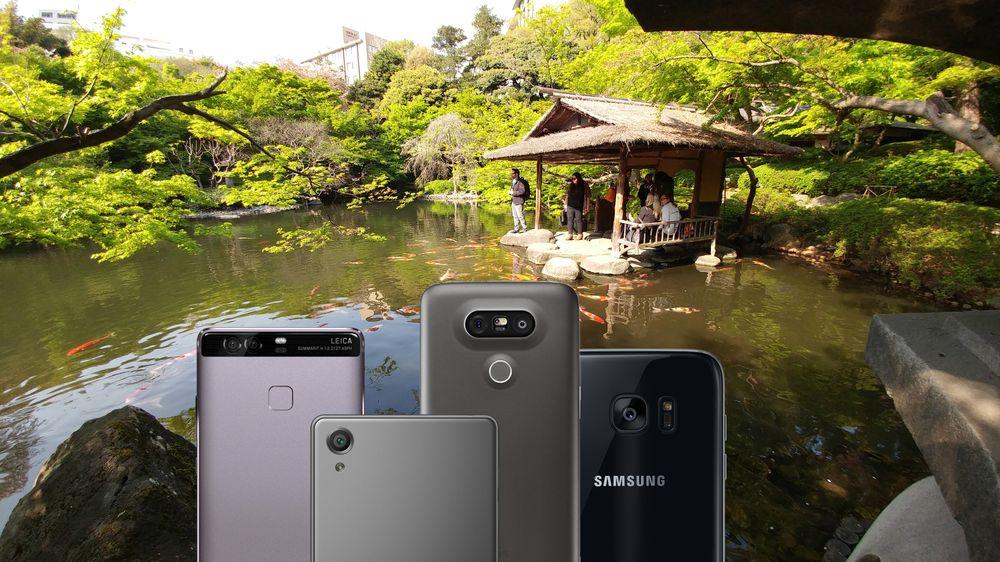 Her er fire av de mest interessante telefonene vi trakk opp av lomma i den store hagen. Fra venstre: Huawei P9, Sony Xperia X, LG G5 og Samsung Galaxy S7 Edge.