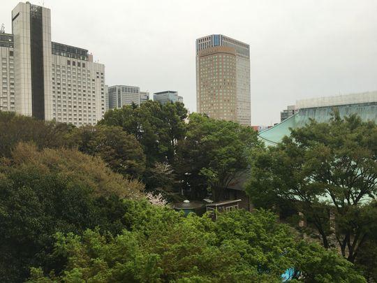 Utsikten fra hotellrommet etter tretten timers reisefot.
