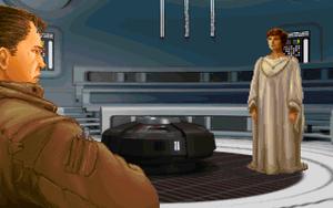 Kyle Katarn, spillets hovedperson, møter Mon Mothma, lederen for opprørsalliansen, for første gang.